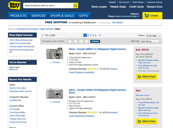 Landing page for Best Buy's camera ad.