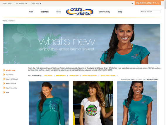 Crazy Shirts' landing page.
