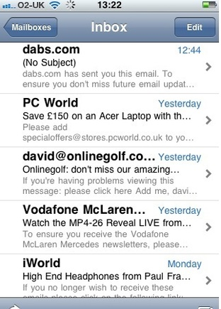 "This iPhone email screenshot shows five separate messages.  The top, bold text is the ""From"" line.  Next is the subject line. Below the subject line is the first few words of the email."