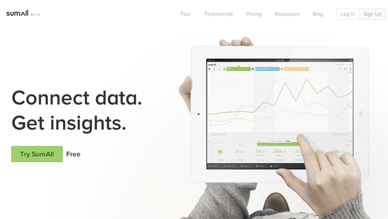 SumAll's platform collects data from multiple sources, helping merchants to analyze it all.