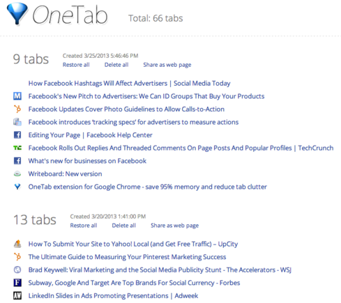 OneTab reduces multiple browser tabs to a single list.