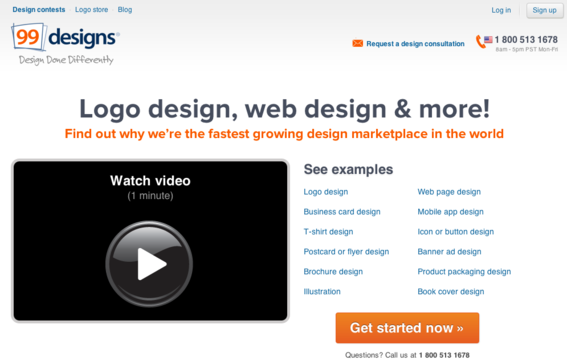99designs matches those in need of web design with freelance designers.