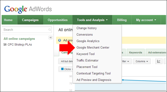 The Google Merchant Center can be access from your AdWords account.