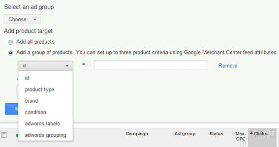 Create Ad Groups or Auto Target by selecting a column or product identifier.