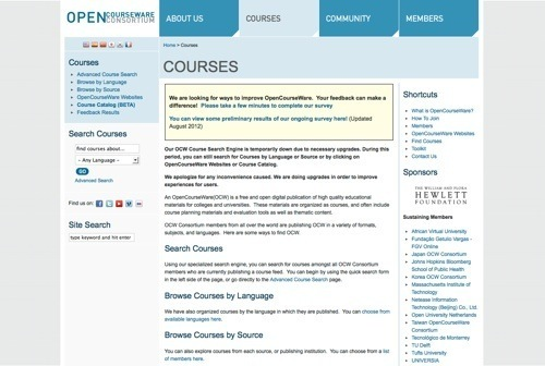 opencourseware consortium The opencourseware consortium is a collaboration of over 100 colleges and universities from around the world whose mission is to advance education and empower.