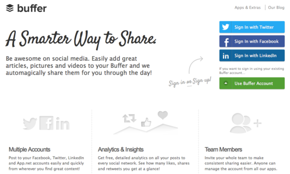 Buffer provides a variety of ways to share content on social networks.