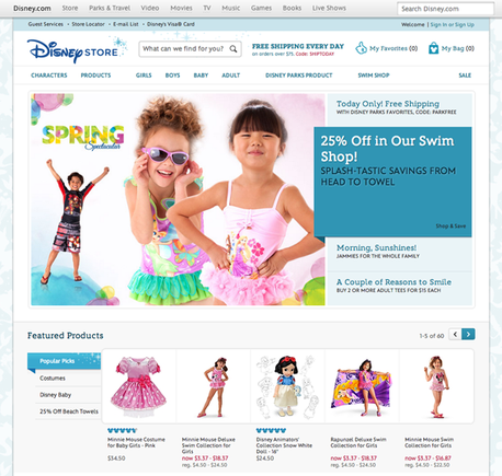 Disney uses bright, simple colors to target children and their parents.