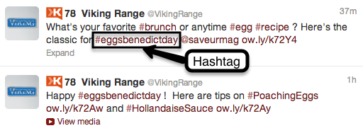 Viking Range uses hashtags to promote recipes.
