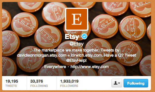 Etsy uses creative imagery and its website color scheme in its Twitter profile.