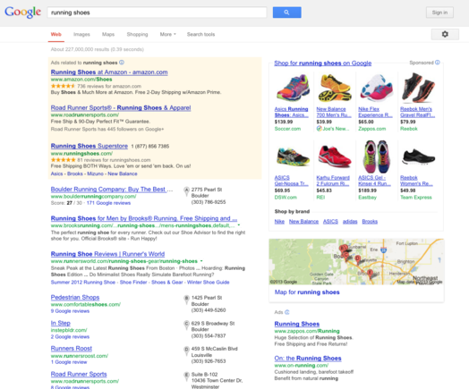 Running shoes search results example.