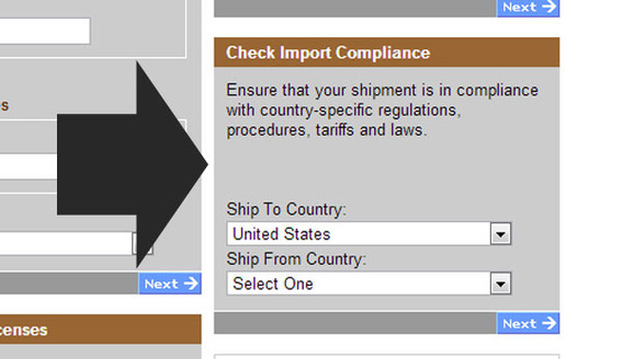 UPS has a handy tool for finding international shipping regulations.