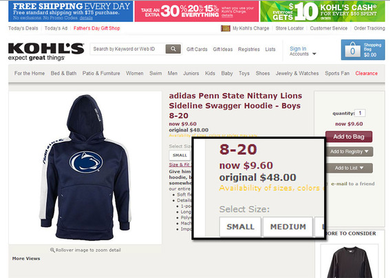 Kohl's offers a hoodie at 80 percent off as a seasonal closeout.