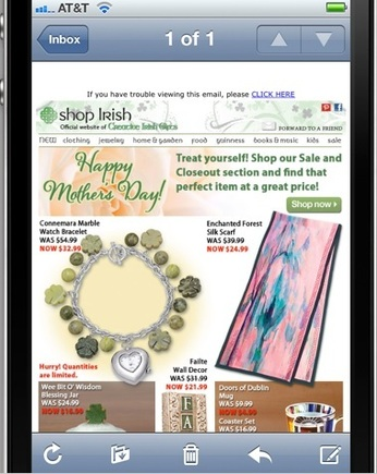 Shop Irish email on an iPhone.