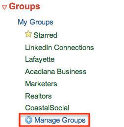 "Click ""Manage groups"" to import and create Twitter lists."