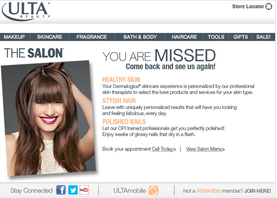This Ultra Beauty email example tells the recipient they are missed.