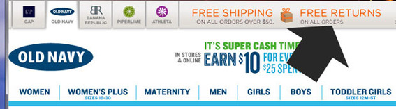 Old Navy recognizes how important returns are.