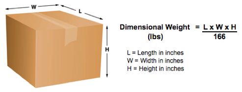 Dimensional weight calculation formula.