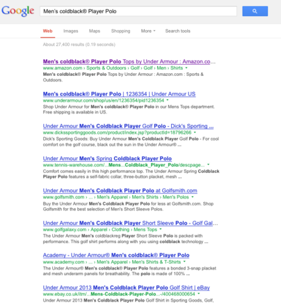 "Google search results for ""Men's Coldblack® Player Polo."""