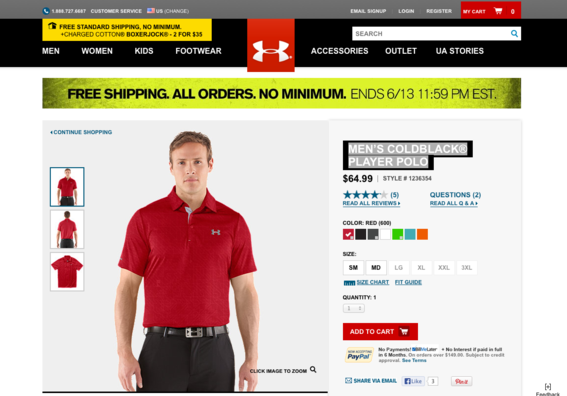 """Men's Coldblack® Player Polo"" product detail page, at UnderArmour.com."