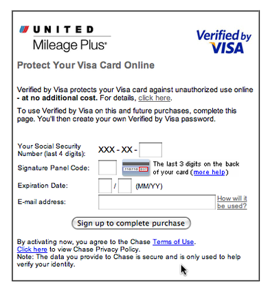 Verified by Visa pop-up on United.com.