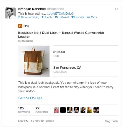 Twitter Card showing product information.