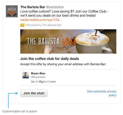 Twitter is testing Cards designed to generate leads.