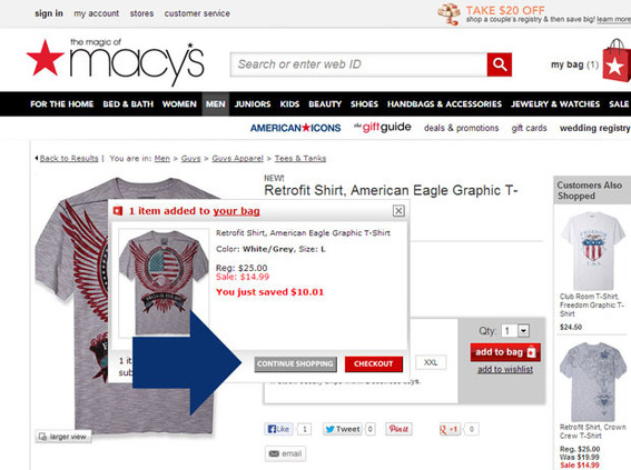 Macy's offers a continue shopping link on a modal interface.