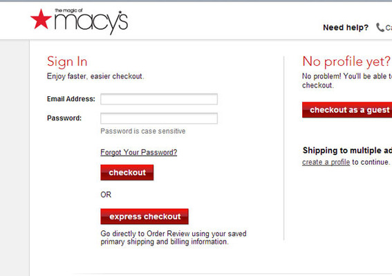 Macy's express checkout link shows new customers one of the benefits of registering.