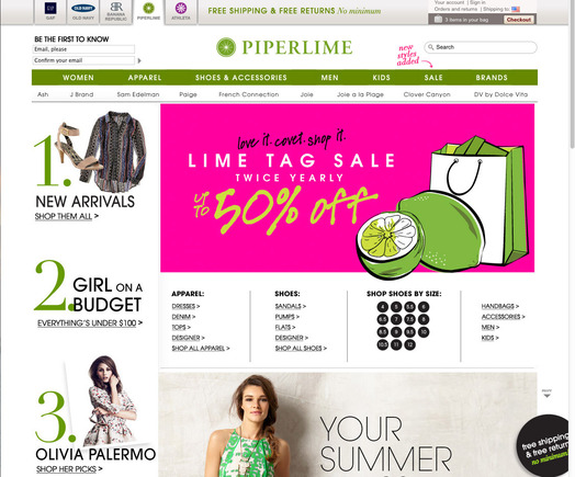 Piperlime home page.