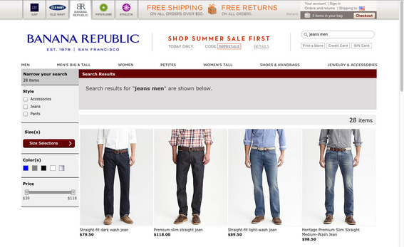 Banana Republic search results page for jeans men.