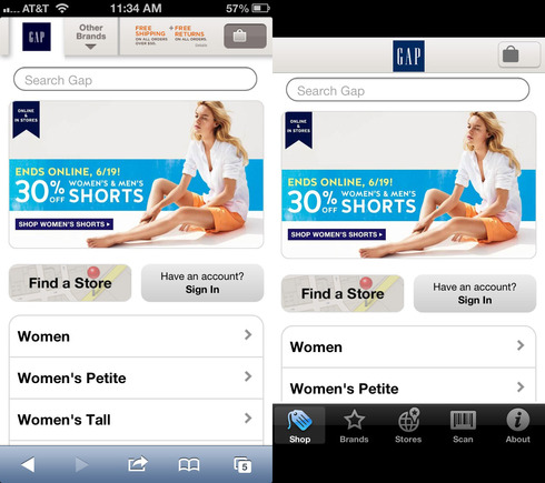 Gap mobile website and iPhone apps.