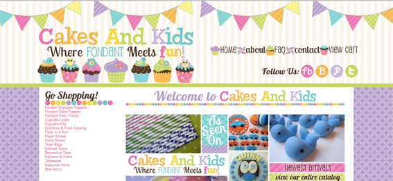 Cakes And Kids home page.