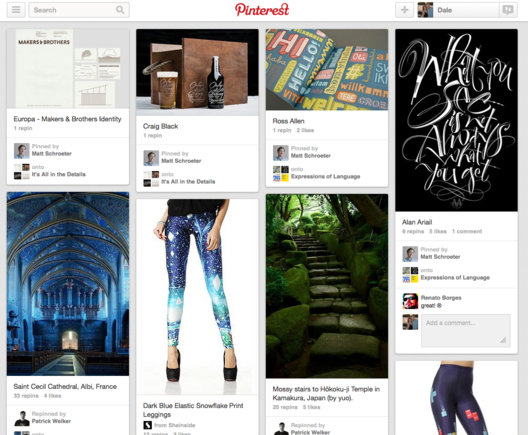Pinterest home page.