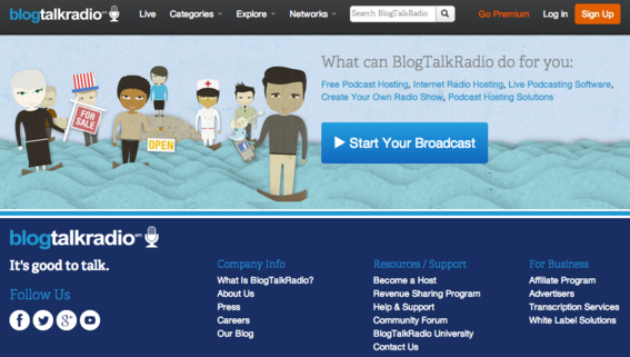 Blog Talk Radio is designed to host live shows.