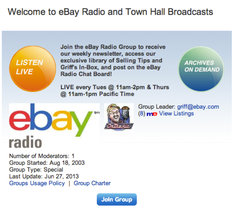 eBay Radio includes live and archived shows.