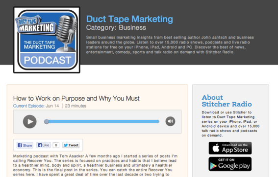Duct Tape Marketing podcast offers marketing tips, tactics and resources.