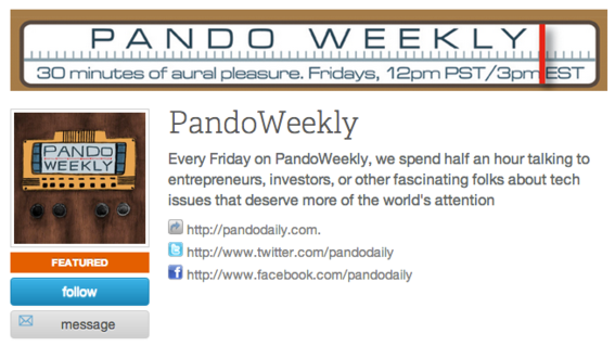 Tech blog Pando Daily recently started this weekly podcast.