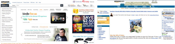 Amazon's site design in 2013 (left) and in 2000.