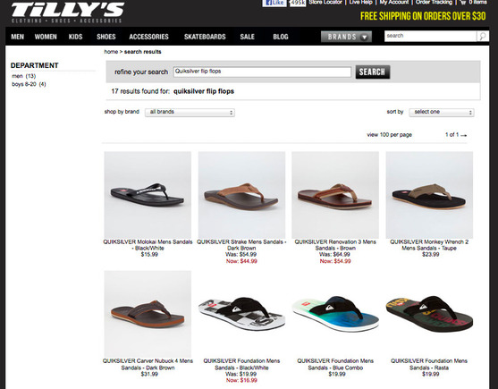 Tilly's site search.
