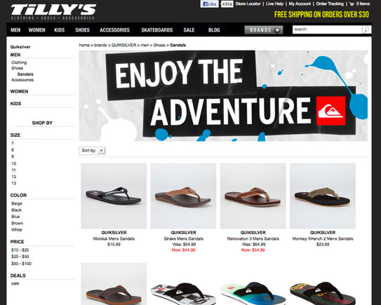 Tilly's search landing page.