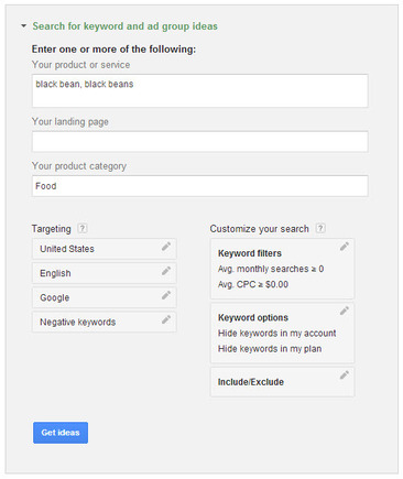 Search for keyword and ad group ideas in the Keyword Planner.