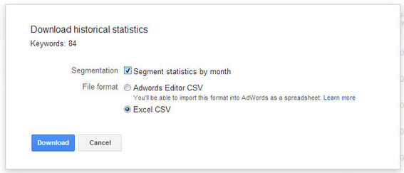 Extracting monthly data from the Keyword Planner.