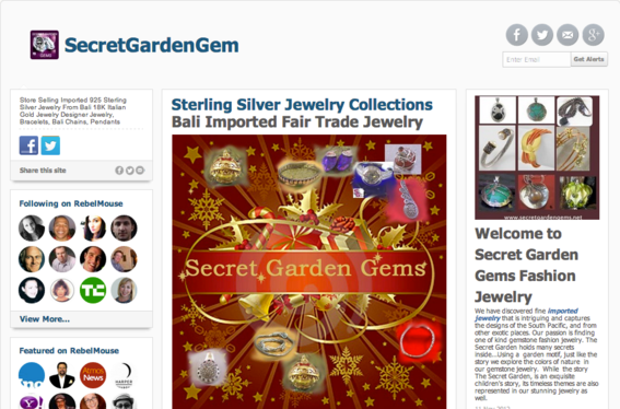 Jewelry retailer Secret Garden Gems lists products on its RebelMouse site.