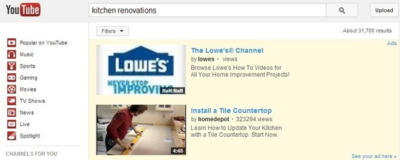 "A sample ""in-search"" ad from Lowe's on YouTube."