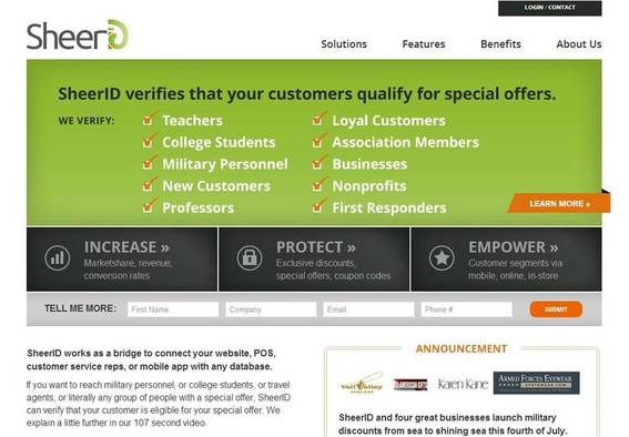 SheerID verifies the customers you offer discounts to.
