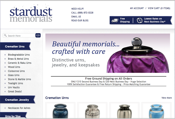 Stardust Memorials home page.
