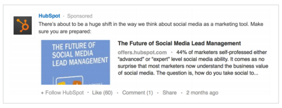 Example of Sponsored Update ad from HubSpot.