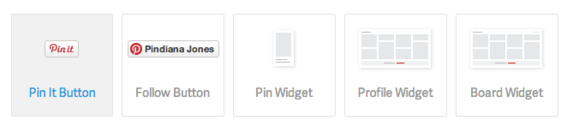 Pinterest offers buttons and widgets for use on ecommerce websites.