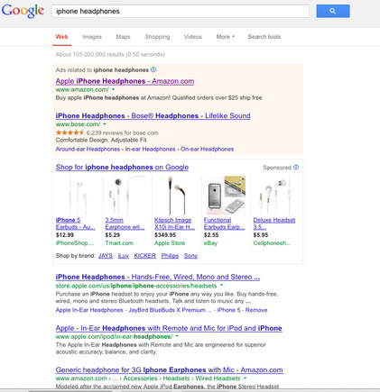 "Google search result for ""iPhone headphones."""