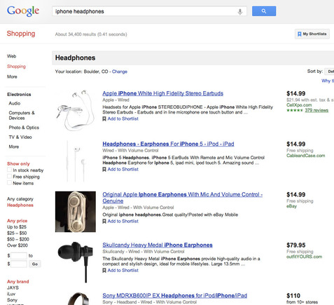 "Google Shopping search result for ""iPhone headphones."""